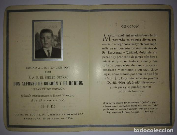 Militaria: Esquela Don Alfonso de Borbón hermano pequeño de Juan Carlos I que murió a los 15 años de edad 1956 - Foto 5 - 116647735