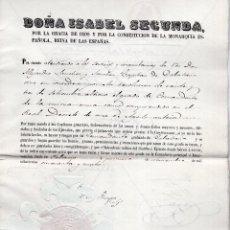 Militaria: ISABEL II. CONCEDE GRADO DE COMANDANTE DE CABALLERÍA, FIRMA ORIGINAL GENERAL LEOPOLDO O´DONELL 1854. Lote 116873563