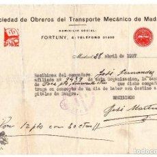 Militaria: DOCUMENTO - GUERRA CIVIL - REPÚBLICA - UGT - DONATIVO PARA HOSPITALES - TRANSPORTES MECÁNICOS MADRID. Lote 116977071