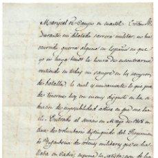 Militaria: CARTA-GENERAL YRAÑETA AL MARISCAL D CAMPO 1859-CAMBIO DE SUS SERVICIOS EN GUERRA ÁFRICA POR DONATIVO. Lote 116978163