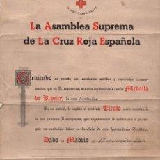Militaria: CONCESIÓN DE LA MEDALLA DE BRONCE PARA LA CRUZ ROJA 1945. Lote 116979427