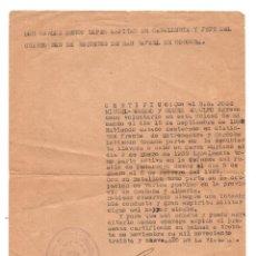 Militaria: 4º REGIMIENTO REQUETES SAN RAFAEL, CORDOBA.- CERTIFICADO DISTINTOS FRENTES EXTREMADURA Y CORDOBA.. Lote 117467735