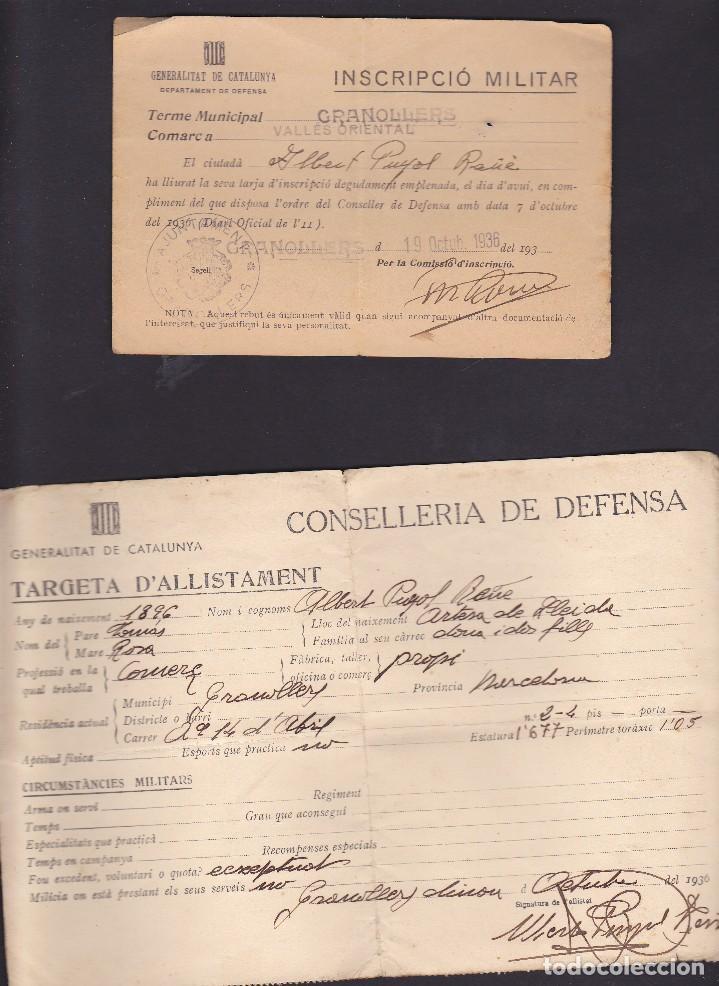 INCRIPCION MILITAR Y TARJETA DE ALISTAMIENTO GENERALITAT DE CATALUNYA 1936 (Militar - Propaganda y Documentos)