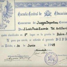 Militaria: R120-LOTE DE 5 DIPLOMAS MISMA PERSONA LA ESCUELA CENTRAL DE EDUCACION FISICA DEL EJERCITO -1949. Lote 118017787
