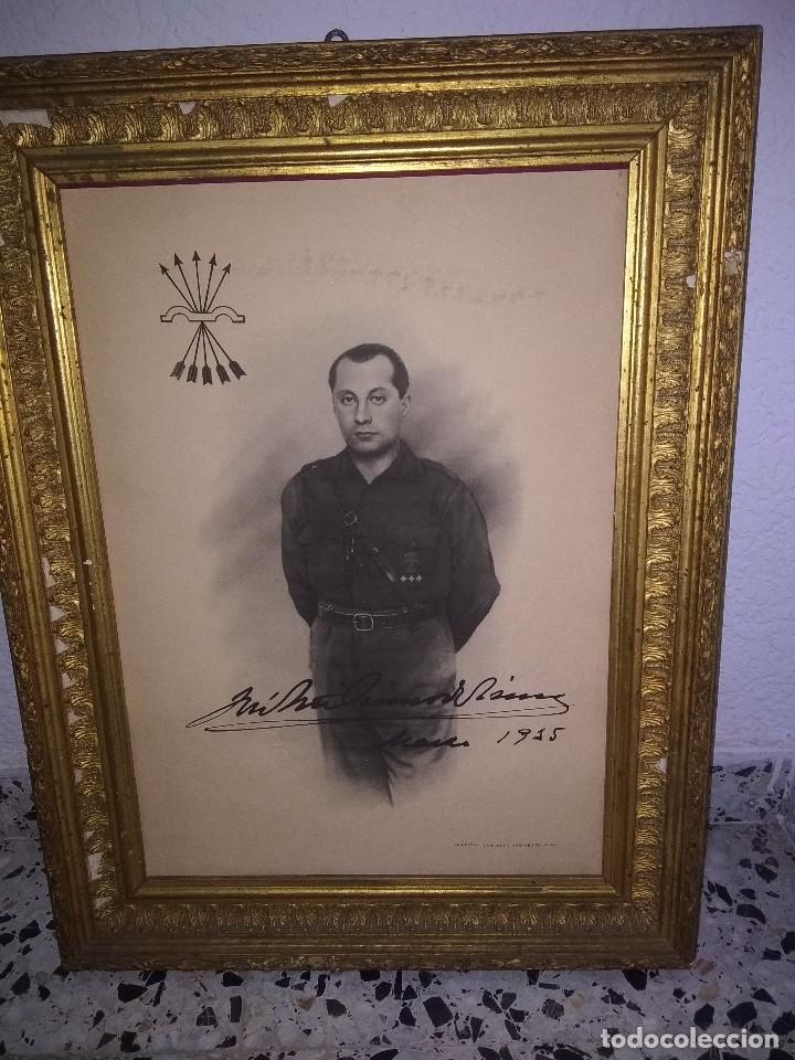 PRECIOSO MARCO CON LÁMINA DE PRIMO DE RIVERA (Militar - Propaganda y Documentos)