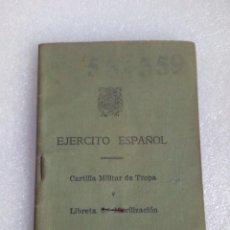 Militaria: CARTILLA MILITAR DE TROPA Y LIBRETA DE MOVILIZACIÓN DEL EJERCITO ESPAÑOL 1956. Lote 118192783