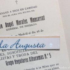 Militaria: GENERAL DE BRIGADA ANGEL MORALES MONSERRAT RECORDATORIO MADRID 1966 FALLECIMIENTO . Lote 118323539