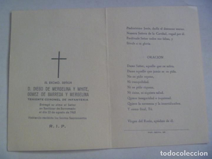 Militaria: RECORDATORIO MUERTE DE TENIENTE CORONEL DE INFANTERIA. SANLUCAR DE BARRAMEDA. 1965 - Foto 2 - 119153519