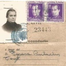 Militaria: SALVOCONDUCTO PARA CATALUÑA EXCEPTO FRONTERAS 1940 COMISARIA INVESTIGACION Y VIGILANCIA SELLO FIRMA. Lote 119290651