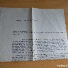 Militaria: CARTA AL CORONEL DEL REGIMIENTO DE CABALLERÍA DRAGONES DE ALCÁNTARA 15 MELILLA.. Lote 119311951