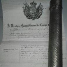 Militaria: TUBO PORTADOCUMENTOS CON TRES ESCRITOS. 1878-1882. ARTILLERÍA ALFONSO XII. Lote 119584298