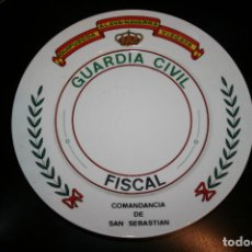 Militaria: PAIS VASCO.PLATO DE LA GUARDIA CIVIL COMANDANCIA DE SAN SEBASTIÁN AÑOS 80. BIDASOA SOBRE 25 CMS.. Lote 120368623