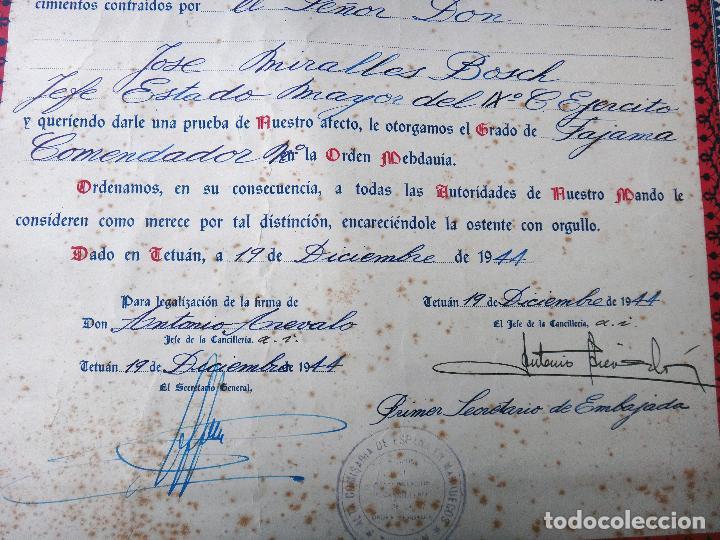 Militaria: DOCUMENTO , CONCESION DE TITULO DE FAJAMA COMENDADOR , PROTECTORADO MARRUECOS, TETUAN 1944,ORIGINAL - Foto 2 - 120437871