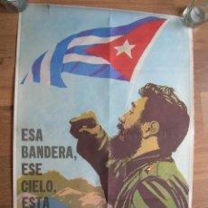 Militaria: ESPECTACULAR POSTER DE FIDEL CASTRO. REVOLUCIÓN CUBANA. ORIGINAL 100%. COMITE CENTRAL DEL PC DE CUBA. Lote 120732783