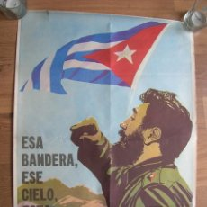 Militaria: ESPECTACULAR POSTER DE FIDEL CASTRO. REVOLUCIÓN CUBANA. ORIGINAL 100%. COMITE CENTRAL DEL PC DE CUBA. Lote 120906615