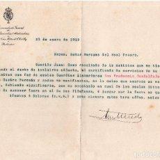 Militaria: CARTA DEL COMANDANTE GENERAL DE LOS REALES GUARDIAS ALABARDEROS AL MARQUES DEL REAL TESORO. 1919 . Lote 121107483
