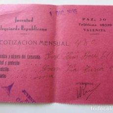 Militaria: VALENCIA. JUVENTUD IZQUIERDA REPUBLICANA. COTIZACIÓN DICIEMBRE 1936. GUERRA CIVIL.. Lote 121307259