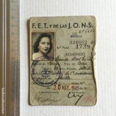 Militaria: FALANGE SECCIÓN FEMENINA CARNET PROVISIONAL ADHERIDO, 1941 SEVILLA. Lote 121604219