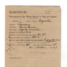 Militaria: GUERRA CIVIL. 1939. DIA SEMANAL DE PLATO UNICO. DIA SIN POSTRE. OVIEDO. ASTURIAS. Lote 122018847