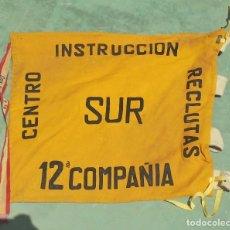 Militaria: BANDERA. CENTRO INSTRUCCION RECLUTAS. SUR. 12º COMPAÑIA. VER DORSO. 53 X 64CM. Lote 122097819