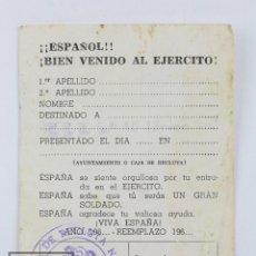 Militaria: TARJETA INSCRIPCIÓN EJÉRCITO - ¡¡ESPAÑOL!! ¡BIENVENIDO AL EJÉRCITO! - CIR Nº 10, ZARAGOZA/ BARCELONA. Lote 122642863