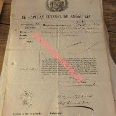 Militaria: SALVOCONDUCTO O PASAPORTE CAPITAN GENERAL DE ANDALUCIA 1856. Lote 123264903