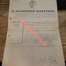 Militaria: HARO, LA RIOJA, 1839, PASAPORTE FIRMADO POR BALDOMERO ESPARTERO , FIRMA LUCHANA, VER IMAGENES, UNICO. Lote 124184215