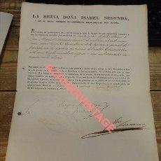 Militaria: 1843, RETIRO A CORONEL , FIRMADO FRANCISCO SERRANO, PRESIDENTE DEL GOBIERNO, RARISIMO. Lote 124190447