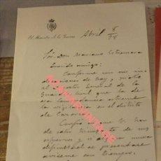 Militaria: MADRID, 1898, DOCUMENTO FIRMADO POR EL GENERAL POLAVIEJA. Lote 132379650