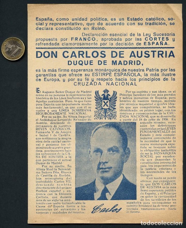 CARLISMO, FOLLETO POLÍTICO, DON CARLOS DE AUSTRIA, REQUETÉS DE CATALUÑA (Militar - Propaganda y Documentos)