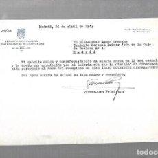 Militaria: SERVICIO DE COLONIAS PENITENCIARIAS MILITARIZADAS. 1943. MADRID. CARTA DE JUAN PETRIRENA. Lote 126329067