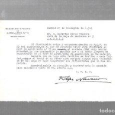Militaria: REGIMIENTO MIXTO DE CABALLERIA Nº 11. TENIENTE CORONEL. 1941. CARTA DE FELIPE NAVARRO. Lote 126329751