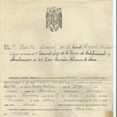 Militaria: LICENCIA MILITAR 24 AÑOS DE SERVICIO BARCELONA 1965 CONCEDE CORONEL RANON NAVARRO DE MORA. Lote 126450563