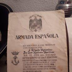 Militaria: NOMBRAMIENTO CRUZ MERITO NAVAL 1A CLASE CON DISTINTITVO BLANCO A BRIGADA MECANICO 1965. Lote 126809863