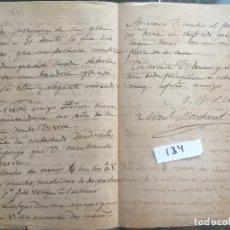 Militaria: CARTA MANUSCRITA , CARTA MANUSCRITA , 1881 , SANLÚCAR DE BARRAMEDA CÁDIZ , MONTAUT, ARIZÓN 134. Lote 127194219