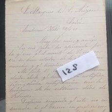 Militaria: CARTA MANUSCRITA , CARTA MANUSCRITA , 1881 , SANLÚCAR DE BARRAMEDA CÁDIZ , ARIZÓN 128. Lote 127194839