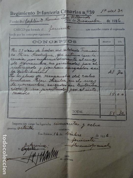 DOCUMENTO REGIMIENTO INFANTERIA CANARIAS Nº 39. 1936. GUERRA CIVIL. (Militar - Propaganda y Documentos)