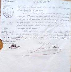 Militaria: MINISTERIO DE LA GUERRA,ORDEN REINA ISABEL II,1858,CAMBIO PARTE UNIFORMIDAD ARMA DE INFANTERIA . Lote 127909583