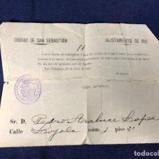 Militaria: ALISTAMIENTO DE 1912 ENTREGA PASE RECLUTA AYUNTAMIENTO SAN SEBASTIAN ARALUCE 16,5X22CMS. Lote 128383671