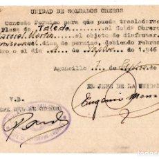Militaria: UNIDADES SOLDADO OBREROS. CONCEDE PERMISO TRASLADO 1946 AVIACIÓN MILITAR. Lote 128425051