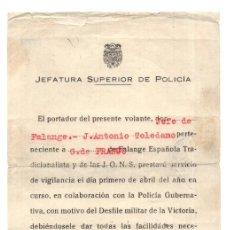 Militaria: JEFATURA SUPERIOR POLICÍA. GUARDIA DE FRANCO. FALANGE.DESFILE MILITAR DE LA VICTORIA 1949. Lote 128425235