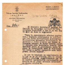 Militaria: JEFATURA PROVINCIAL ALMERÍA.- FALANGE. DIVISIÓN AZUL.- ALISTARSE CAMPAÑA RUSIA 1941. Lote 128426179