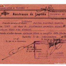 Militaria: PASAPORTE A TOLEDO.- MAESTRANZA DE LOGROÑO.-1946. AVIACIÓN.- VUELO SIN MOTOR. Lote 128426447