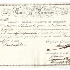 Militaria: CARTA DE PERMANENCIA.- GOBIERNO MILITAR Y POLITICO DE BARCELONA 1824. Lote 128428383