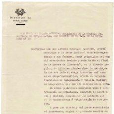 Militaria: CERTIFICADO.- ESPIA.-PERTENECIENTE A MILICIAS CLANDESTINAS MADRID. SERVICIO INFORMACIÓN Y POLICÍA. Lote 128429659