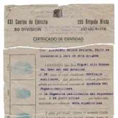 Militaria: CERTIFICADO.- 205 BRIGADA MIXTA. BASE DE TUTIA 1938. GUERRA CIVIL. Lote 128430831