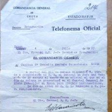 Militaria: EJERCITO ESPAÑOL,GUERRA DE AFRICA, AÑO 1927 COMANDANCIA DE CEUTA ENVIO REFUERZOS DE CABALLERIA,XAUEN. Lote 128504783
