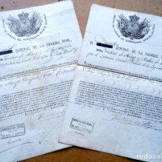 Militaria: GUARDIA CIVIL,DISTINCION A SARGENTO,1862 FIRMA DIRECTOR GENERAL ISIDORO DE HOYOS RUBIN DE CELIS. Lote 128593591