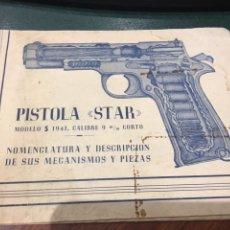 Militaria: NOMENCLATURA Y DESCRIPCIÓN PISTOLA START S - 1941, CALIBRE 9 M/M CORTO. Lote 128697972