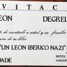 Militaria: FIRMA MANUSCRITA DE LEON DEGRELLE EN INVITACIÓN A ACTO ORGANIZADO POR CEDADE. Lote 128927343